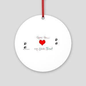 Shih Tzu Love Ornament (Round)