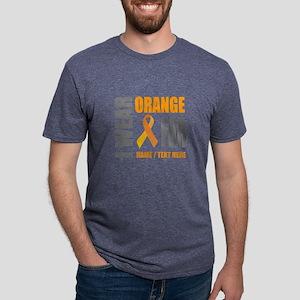 Orange Awareness Ribbon Cus Mens Tri-blend T-Shirt