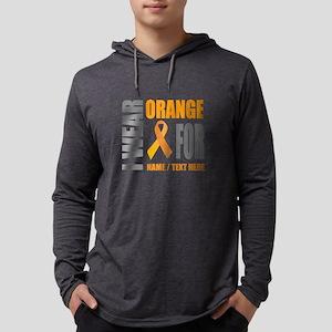 Orange Awareness Ribbon Customiz Mens Hooded Shirt