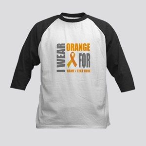 Orange Awareness Ribbon Customiz Kids Baseball Tee