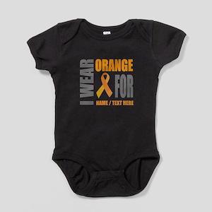 Orange Awareness Ribbon Customized Baby Bodysuit