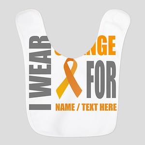 Orange Awareness Ribbon Customi Polyester Baby Bib