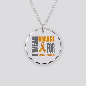 Orange Awareness Ribbon Cust Necklace Circle Charm