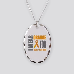 Orange Awareness Ribbon Custom Necklace Oval Charm
