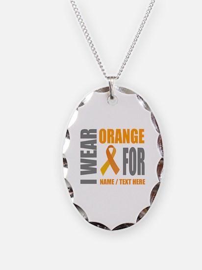 Orange Awareness Ribbon Custom Necklace