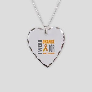 Orange Awareness Ribbon Custo Necklace Heart Charm