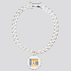 Orange Awareness Ribbon Charm Bracelet, One Charm