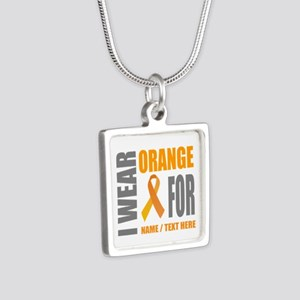 Orange Awareness Ribbon Cu Silver Square Necklace