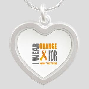 Orange Awareness Ribbon Cust Silver Heart Necklace