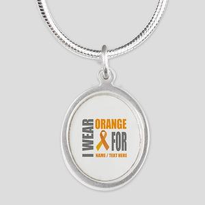 Orange Awareness Ribbon Custo Silver Oval Necklace
