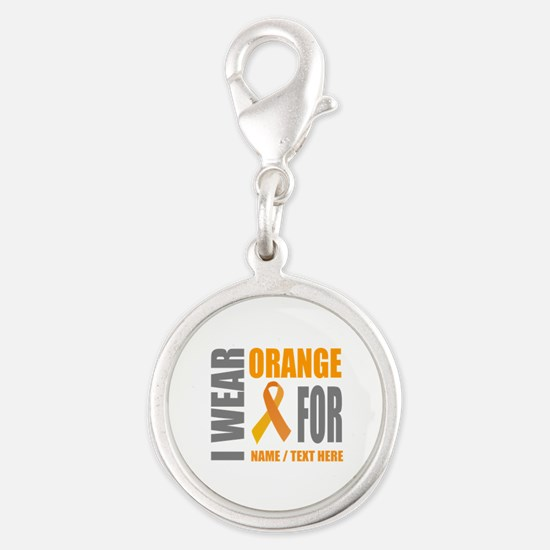 Orange Awareness Ribbon Custom Silver Round Charm