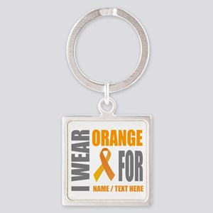 Orange Awareness Ribbon Customized Square Keychain