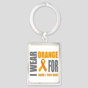 Orange Awareness Ribbon Customiz Portrait Keychain