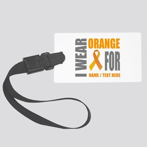 Orange Awareness Ribbon Customiz Large Luggage Tag