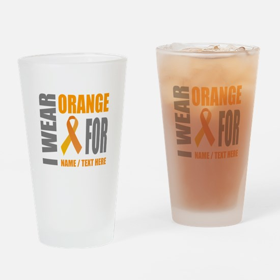 Orange Awareness Ribbon Customized Drinking Glass