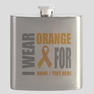 Orange Awareness Ribbon Customized Flask