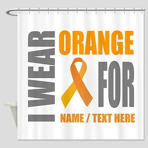 Orange Awareness Ribbon Customized Shower Curtain