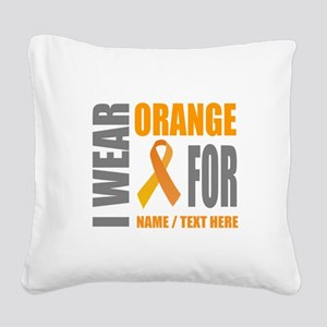 Orange Awareness Ribbon Custo Square Canvas Pillow
