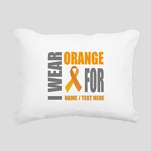 Orange Awareness Ribbon Rectangular Canvas Pillow
