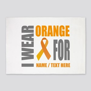 Orange Awareness Ribbon Customized 5'x7'Area Rug