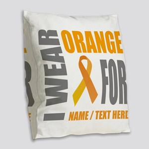 Orange Awareness Ribbon Custom Burlap Throw Pillow