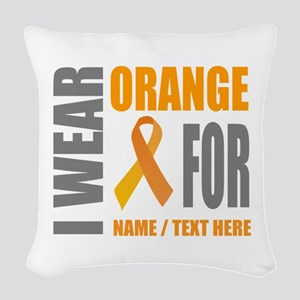 Orange Awareness Ribbon Custom Woven Throw Pillow