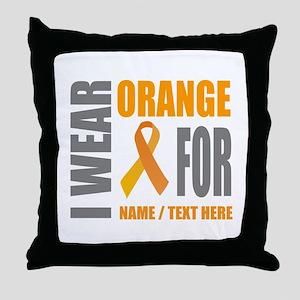 Orange Awareness Ribbon Customized Throw Pillow