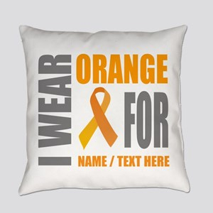 Orange Awareness Ribbon Customized Everyday Pillow