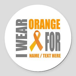 Orange Awareness Ribbon Customize Round Car Magnet