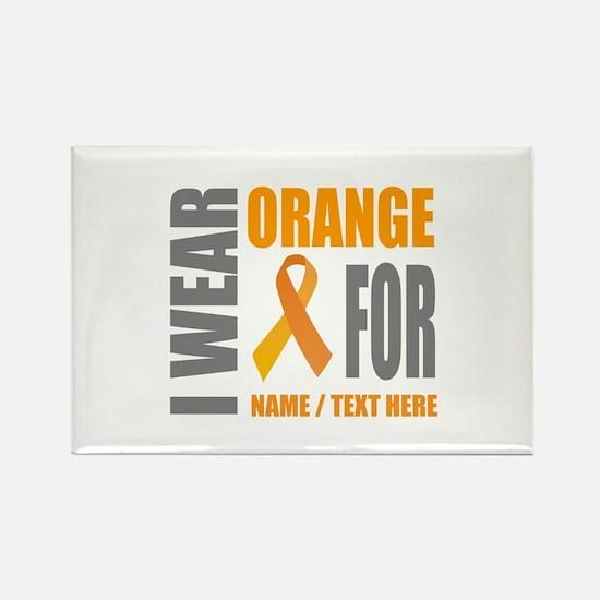 Orange Awareness Ribbon Customize Rectangle Magnet