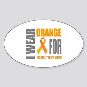Orange Awareness Ribbon Customized Sticker (Oval)