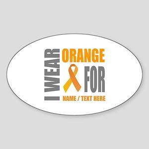 Orange Awareness Ribbon Customized Sticker (Oval)