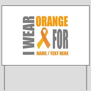 Orange Awareness Ribbon Customized Yard Sign