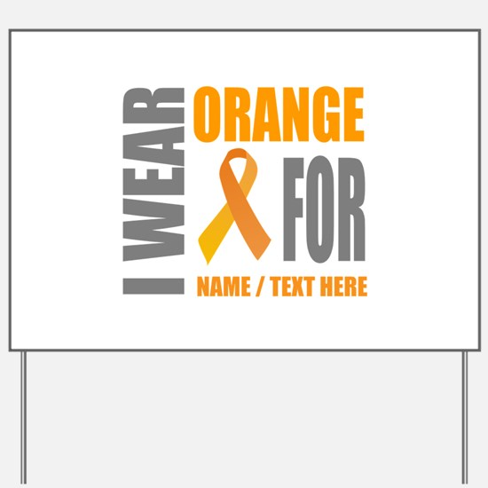 Orange Awareness Ribbon Customized Yard Sign