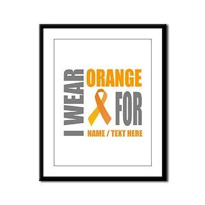 Orange Awareness Ribbon Customi Framed Panel Print