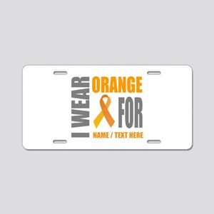 Orange Awareness Ribbon Cus Aluminum License Plate