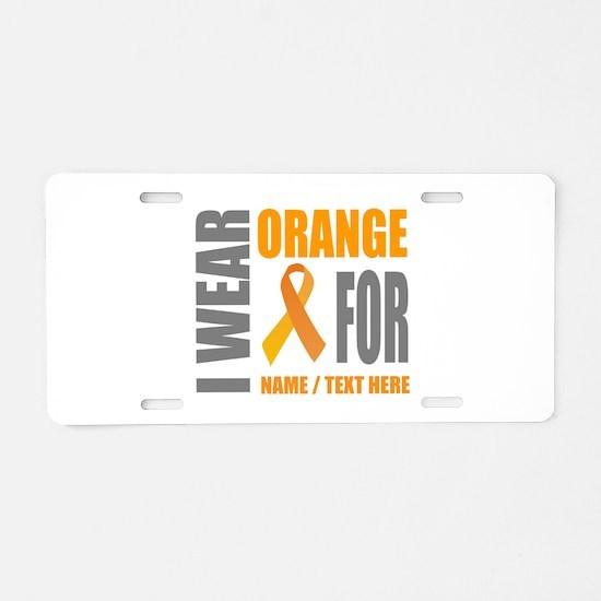 Orange Awareness Ribbon Cus Aluminum License Plate