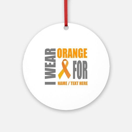 Orange Awareness Ribbon Customized Round Ornament
