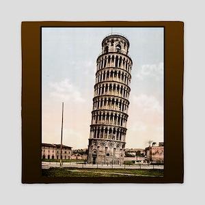 Vintage Leaning Tower Of Pisa Queen Duvet