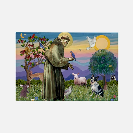 St Francis / Cattle Dog Rectangle Magnet