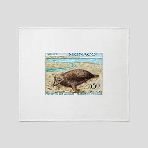 1970 Monaco Harbor Seal Stamp Throw Blanket