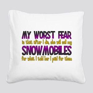 Cheap Snowmobiles Square Canvas Pillow
