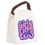 Girls Ride Too Canvas Lunch Bag
