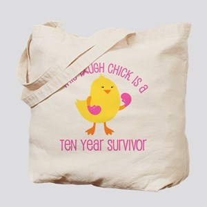 Breast Cancer 10 Year Survivor Chick Tote Bag