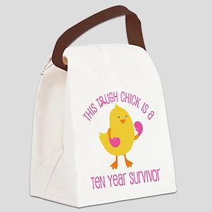 Breast Cancer 10 Year Survivor Chick Canvas Lunch