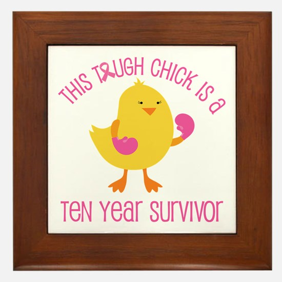 Breast Cancer 10 Year Survivor Chick Framed Tile