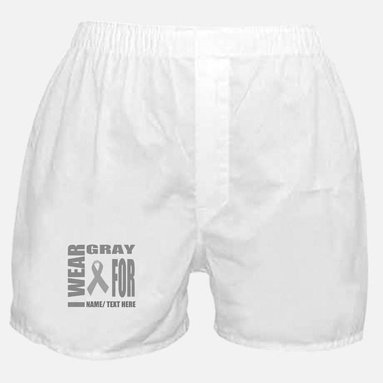 Gray Awareness Ribbon Customized Boxer Shorts