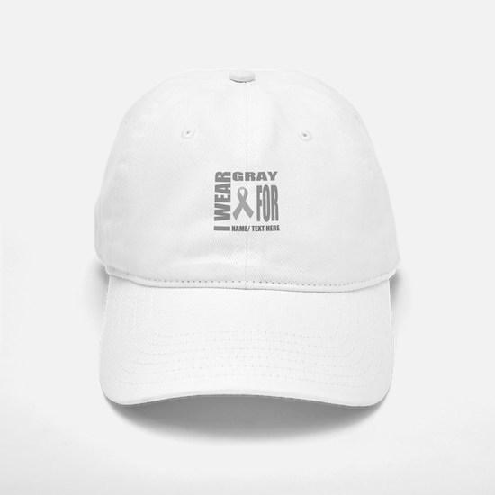 Gray Awareness Ribbon Customized Baseball Baseball Cap