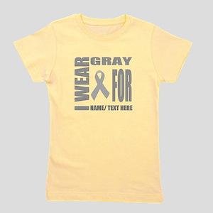 Gray Awareness Ribbon Customized Girl's Tee