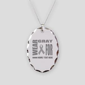 Gray Awareness Ribbon Customiz Necklace Oval Charm